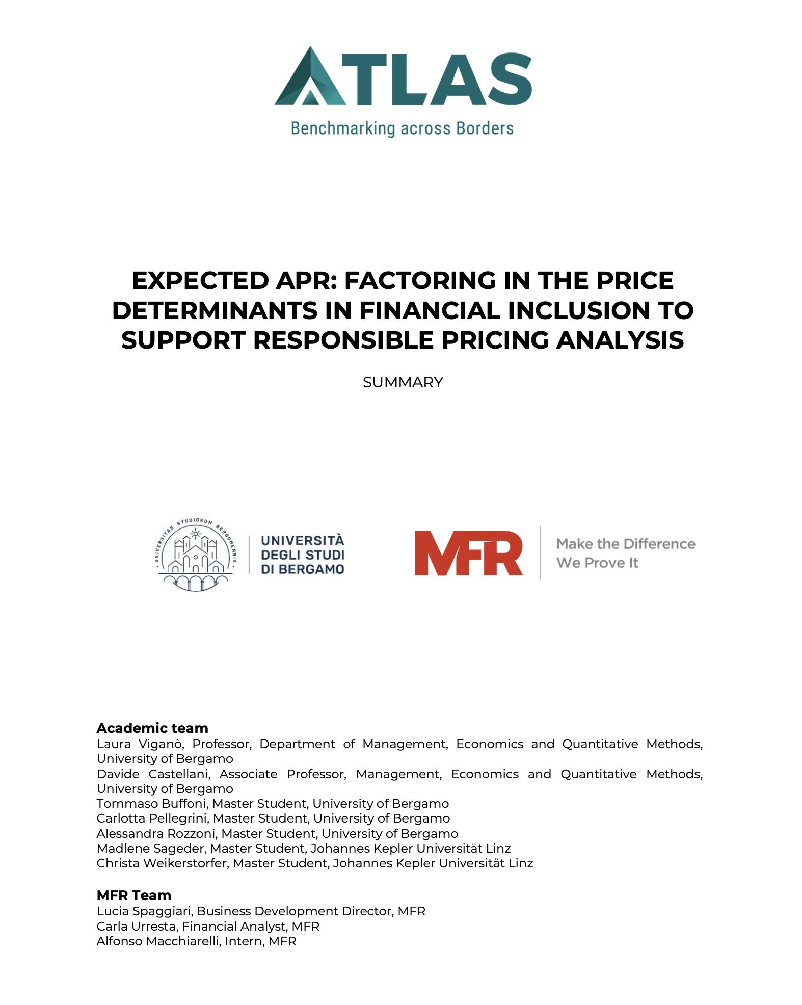 APR determinants, University of Bergamo and MFR, 2019